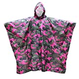 PIXNOR Multifunktionale Camouflage Regenjacke Poncho Regenkleidung für Klettern Wandern Camping Radfahren (rosig)