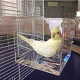Vogel Badewanne Käfig Haustier Vogel Badehaus mit hängendem Haken für die meisten Vogelkäfig Haustier Papagei Wellensittich Sittich Nymphensittich Käfig Wasserdusche transparent