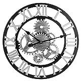 H0_V Wanduhr Vintage Groß, 58cm(22,8in) Wanduhr Lautlos Wanduhr ohne Tickgeräusche 3D Dekorative Zahnrad mit Römischen Ziffern
