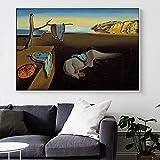 XIANGPEIFBH Salvador Dali Die Beständigkeit der Erinnerung Uhren Surreale Malerei Leinwand Poster Druck Wandkunst Bild Für Wohnzimmer 40x50cm (16'x 20') Ungerahmt