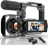 4K Camcorder Videokamera WIFI 48MP IR Nachtsicht Vlogging Kamera, 16 x Digital-Zoom Video-Rekorder mit Mikrofon, Kamerahalter und Gegenlichtblende