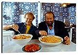Bild Mangiaspaghetti cod. 53 Bud Spencer e Terence Hill cm 35x50 Druck auf Leinwand Das gemälde ist fertig zum aufhängen Il Negozio di Alex