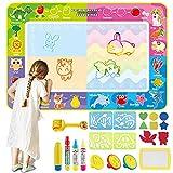 Wasser Doodle matte, Jooheli Aqua Doodle Matte Wassermalmatte 150 x 100cm XXL, Malmatte mit Wasserstift für Kinder Baby Mädchen Junge für Painting Geschenk für 1 2 3 4 5 6 7 Jahre(23 PCS)