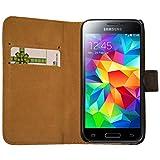 Slabo Flip Case Cover in Bookstyle für Samsung Galaxy S5 Mini - ECHT Leder - schwarz   Black