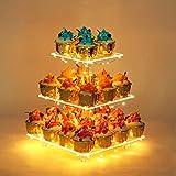 YestBuy 3 Etagen Acryl Cupcake Ständer Tortenständer mit LED-Lichterkette ideal für Hochzeiten Geburtstag (Gelb)