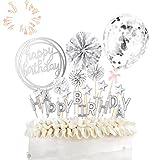 ETHEL Cake Topper Happy Birthday Glitter Cake Topper Kuchendekoration Geburtstag Tortendeko mit Sternen Konfetti-Luftballons und Papierfächer für Geburtstagsfeier Dekoration (Silber)