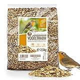 wildtier herz I Vogeltraum Schalenlos - Premium Vogelfutter, Wildvogelfutter Schalenfrei, Ganzjahresfutter mit Sonnenblumenkerne, Vogel Streufutter (2.5kg)