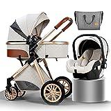 YXCKG Luxus Kinderwagen, Kinderwagen 3 in 1 Kinderwagen Faltbarer Kinderwagen-3 in1 inkl. Regenschutz/Rucksack/Mamatasche Wendbarer Stubenwagen Kinderwagen (Size : White)