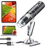 YINAMA WiFi Mikroskop, 50x-1000x Vergrößerung Mikroskop Kamera, 8 LED-Leuchte Mini-Handmikroskop, 1080P 2MP, kompatibel mit Android, iPad, PC, MAC und Window