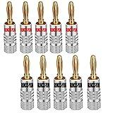 RUNCCI-YUN 24K bananenstecker,High End bananenstecker 4mm,Audio Lautsprecher Terminal löt- oder schraubbar vergoldet, 5 Schwarz und 5 R