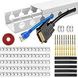 5 Stück Kabelkanäle, Kabelmanagement Schreibtisch Kabelabdeckungen Verstecken für Büro und Zuhause, Weiß, 37 * 4 * 2.5 CM