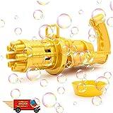 DMWMD Bubble Maker (goldene) Gatling-Blase Maschine cool Spielzeug Geschenk acht Loch riesige Menge Bubble Gun Outdoor Spielzeug für Jungen und Mädchen (Color : Golden)