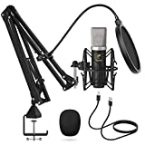 TONOR USB Mikrofon Set, Kondensator Mikrofon 192 kHz / 24 Bit Plug and Play Computer Mikrofon für Podcast, YouTube Video, Stream, Voice Over, TC-2030