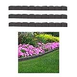 3 graue Gummi-Beeteinfassung für Terrasse, Rasenkante, biegsam, römische Stein-Optik, Gartenumrandung 1,2