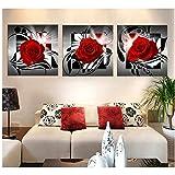 Muzimuzili Wohnzimmer-Wandbild, Leinwandbild, Gemälde, Kunstdruck, Bilder, Rot, Weiß, Rosa, Rose, Lotus, D-50 x 50 cm, 3 Stück, ungerahmt