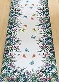 Hossner Heimtex Tischdecke Tischläufer Mitteldecke Kissenhülle Kissenbezug Sommer Bunte Wiesenblumen und Schmetterlinge auf weißem Untergrund (40 x 100 cm)