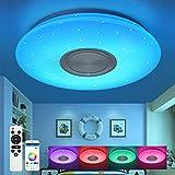 Kinderzimmer Deckenleuchte mit Bluetooth Lautsprecher Fernbedienung und APP-Steuerung Led 24W RGB Farbwechsel, Sternenhimmel, dimmbar, N