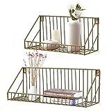 AGSIVO 2er Set Wandregal Schweberegal mit Metallgitter Aufbewahrungsregale Gestelle anzeigen für Bücher CDs und Dekostück beim Wohnzimmer Schlafzimmer und Büro (Gold)