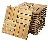 Casaria Holzfliesen FSC®-zertifiziertes Akazienholz 1m² Fliese Akazie Mosaik 30x30cm Klicksystem zuschneidbar T