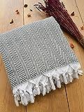 Damla Tagesdecke Überwurf Decke - Wohndecke ideal für Bett und Sofa, 100% Baumwolle - handgefertigte Fransen, 220x250cm (Grau)