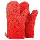 ATUIO - Ofenhandschuhe, Küchenhandschuhe, Hitzebeständige Verdickte Handschuhe, Handschuhe Backen [1 Paar], Ofenhandschuhe Baumwolle für Küche Kochen Backen Grillen, [Rot]