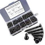 Schraubensortiment mit Fachbox,500 Pcs Selbstschneidende schrauben Set,Kohlenstoffstahlmaterial holzschrauben,7 verschiedene Größen von M3-Schrauben(schwarz)