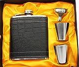 Cosmo Edelstahl Flachmann 7oz – Exklusives Geschenkset mit Zwei Schnapsgläsern und Trichter – Flask Set mit 2 Bechern