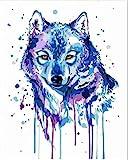 YMJP Malen Nach Zahlen Erwachsene 40x50cm- Paint by Numbers 53 Hohe Qualität Pinsel Acrylfarbe Knitterfrei Gemalte Wolf-Combo Box