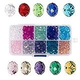 Bingcute 4mm Großhandel Briolette Kristall Glas Perlen Facettierte Glasperlen Rondelle Kügelchen #5040 sortierte Farben mit Box für DIY Schmuck Halskette Armband Basteln(1000 Stück) (4mm)