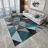 Teppich deko Teenager mädchen Zimmer Blauer schwarzer Grauer geometrischer Teppich langlebiges und leicht zu reinigendes Wohnzimmer Anti Stress Teppich für kinderzimmer 200*300cm