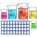 Becherglas Set, Wandefol 5 Teilig Borosilikatglas Bechergläser Set Niedriger Formbecher mit klare Ausguss 5ML/10ML/25ML/50ML/100ML für Labor Messb