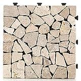 HORI® Terrassenfliesen steinoptik I Klick Bodenfliesen aus Naturstein I Modell: Steine beig