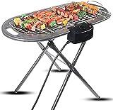 Elektrischer Grill 2 in 1 elektrische Holzkohle-Standgrill Haushalt 2000W Elektrische Temperatur Regulierung BBQ Grill Outdoor Camping Rauchloser Grill Grill
