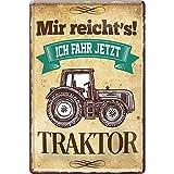"""schilderkreis24 – Blechschild Lustiger Traktor Spruch """"Mir reicht's Traktor"""" Deko Metallschild Schild Geschenkidee Weihnachten Geburtstag Bauern Farmer Landwirte Landwirtschaft 20x30 cm"""