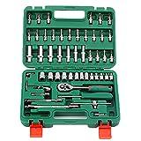 NSZJWD 1/4' Werkzeugsatz, 53-teiliger Mechaniker-Werkzeugsatz, Handwerkzeugsatz für den allgemeinen Haushalt mit Ratschenschlüssel und Werkzeugkasten-Aufbewahrungskoffer, Chrom-Vanadium-Stahl