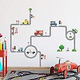 Decowall DW-1604 Straßen Transporte Autos Fahrzeuge Wandtattoo Wandsticker Wandaufkleber Wanddeko für Wohnzimmer S