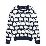 wkd-thvb Damen Pullover Schaf Jacquard Herbst Winter Blau Pullover Pullover Casual Warm Jumper Navy Blue L