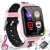 Smartwatch Kinder - Smartwatches Telefon mit Musik SOS Spiele Kamera Stoppuhr Wecker Rekorder Rechner Touchscreen Uhr Anruf Kinder Geschenke Geburtstag für Jungen und Mädchen (Rosa)