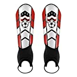 CybGene Schienbeinschoner Fußball für Kinder Herren Damen mit Knöchelschutz Entworfen, Schienbeinschützer für Jugend Erwachsene Fußballausrüstung mit Verstellbare Gurte & Atmungslöcher Rot M