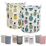 LessMo 2PCS 19.7' Wäschekorb Sortierer – Faltbar - 2er Set Wäschesammler spart Zeit beim Sortieren - Wäschesack - Wäschekörbe - Laundry Baskets - 50 x 40 cm (Ananas, Verdickt 19'/ Groß)