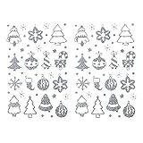 Oblique Unique® 84 Weihnachts Sticker Glitzer Xmas Aufkleber für Weihnachten Geschenk Deko - Engel Tannenbäume Punkte Schneeflocken Sterne UVM. - wählbar (Weihnachtsmix)