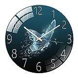 HCHQ Wanduhr Modern 30cm Rund Quarz Wanduhr ohne Tickgeräusche Glaswanduhr batteriebetrieben für Wohnzimmer, Küche, Büro Zimmer deko Aesthetic,M