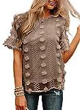 CORAFRITZ Damen-Blusen, einfarbig, Rundhalsausschnitt, kurzärmelig, modisch, gepunktet Gr. XXL, braun