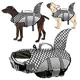 Kuoser Hundeschwimmweste, Hohe Schwimmfähigkeit Haifisch-Form Hunde-Badeanzug, Haustier-Sicherheitsweste mit leicht greifbarem Rettungsgriff, Hundeschwimmschutz zum Schwimmen und Bootfahren