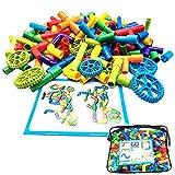 102 Stück Rohrbausteine Bausteine Steckspielzeug Montage DIY Pipeline Blöcke mit Rädern Auto Konstruktionsspielzeug für 3 Jahre alte Kinder
