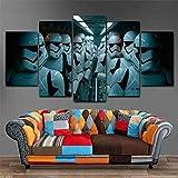 Leinwanddrucke 5 Stück Leinwand Bilder Wanddeko Wand Wohnzimmer Wanddekoration Star Space Wars Empire Deko Hd Poster Kunstwerke Malerei 150X80 cm R