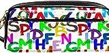 Federmäppchen Pencil Case Bleistiftbeutel mittlerer Kapazität mit Reißverschlüssen Briefpapier Veranstalter Lager Büro Schule für College-Student Teen Girl Buntes Alphabet-20,5 x 5 x 8,5 cm_Buntes Al
