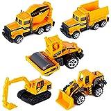 Dreamon Mini Legierung Bagger Lastwagen Autos Set Fahrzeugset Kleinkind Baustelle Spielzeug ab 3 Jahren (5 pcs Set)