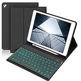 BORIYUAN Hülle Tastatur Kompatibel mit iPad 2018 (6th Gen), iPad 2017 (5th Gen), iPad Air 2/1, pro 9.7 2016 - Auto Schlaf/Aufwachen Hülle mit Hinterleuchtet Bluetooth Tastatur (German) - Schwarz