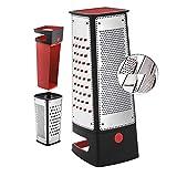 Silit Vierkantreibe mit Auffangbehälter, 29,5 x 11 x 11 cm, 4 Reibeflächen, Edelstahl, Kunststoff, Kartoffelreibe, Gurkenhobel